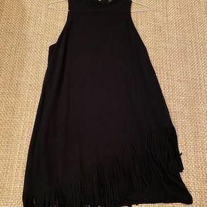 Black Asymmetrical Fringe Dress